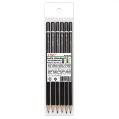 Набор графитовых карандашей STAFF 181254 6 шт 175 мм