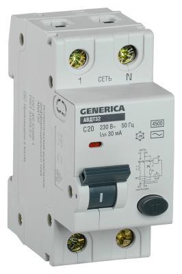 цена на Iek MAD25-5-020-C-30 АВДТ 32 C20 - Автоматический Выключатель Дифф. Тока GENERICA