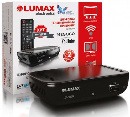 Приставка DVB-T2 LUMAX/ GX2325S, Пластик, 3.5 JACK, USB, HDMI, Wi-Fi, Dolby Digital, MEGOGO, IPTV-плейлисты, Кинозал LUMAX, YouTube, 0,3кг внешний блок питания