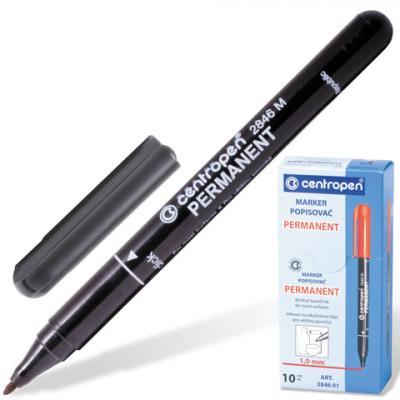 Маркер перманентный Centropen 2846/1 1 мм черный 150207 маркер для доски centropen 8569 1ч 4 6 мм черный 8569 1ч