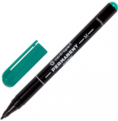 Маркер перманентный Centropen Маркер перманентный (нестираемый) 1 мм зеленый маркер перманентный index imp550 gn 4 мм зеленый