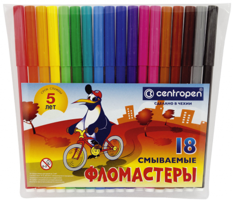 Фото - Набор фломастеров Centropen Пингвины 1,8 мм 18 шт centropen набор смываемых фломастеров colour world 18 цветов