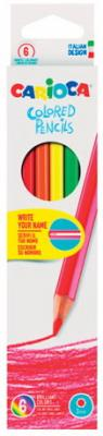 Карандаши цветные CARIOCA (Италия), 6 цветов, грифель 3 мм, шестигранные, заточенные, европодвес, 41256 карандаши цветные universal carioca jumbo 6 цветов
