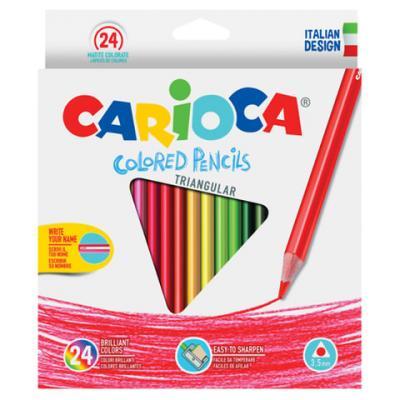 Набор цветных карандашей CARIOCA Triangular 24 шт 175 мм carioca набор экстра крупных восковых карандашей baby для детей