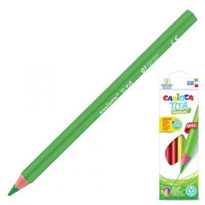 Набор цветных карандашей CARIOCA Tita Triangular Maxi 6 шт 175 мм утолщенные carioca набор экстра крупных восковых карандашей baby для детей