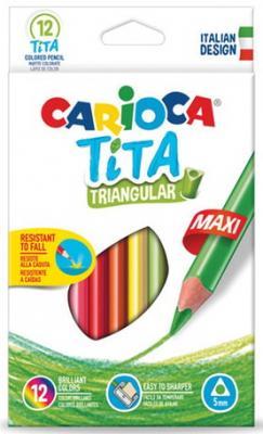 Карандаши цветные утолщенные CARIOCA Tita Triangular Maxi, 12 цветов, пластиковые, трехгранные, 5 мм, 42791 carioca набор крупных пластиковых мелков plastello maxi 12 цветов