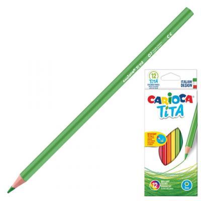 Набор цветных карандашей CARIOCA Tita 12 шт 174 мм carioca набор экстра крупных восковых карандашей baby для детей