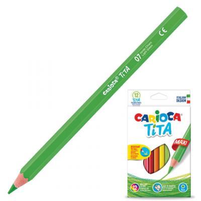 Набор цветных карандашей CARIOCA Tita Maxi 12 шт 175 мм утолщенные carioca набор крупных пластиковых мелков plastello maxi 12 цветов