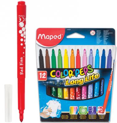 Набор фломастеров Maped Color Pep's 3 мм 12 шт набор капиллярных ручек maped graph pep s цвет чернил черный 12 шт
