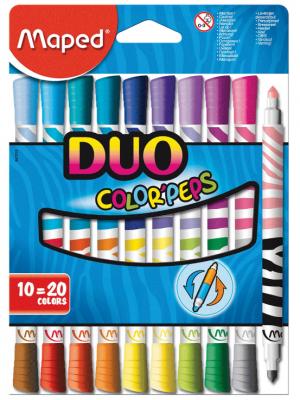 Набор двусторонних фломастеров Maped Color'peps Duo 1 мм 10 шт maped карандаши цветные color peps треугольные 12 цветов maped