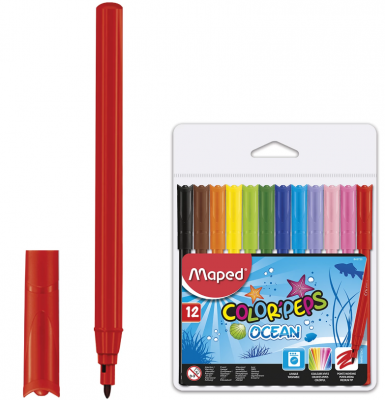 Набор фломастеров Maped Color'peps Ocean 1 мм 12 шт maped карандаши цветные color peps треугольные 12 цветов maped