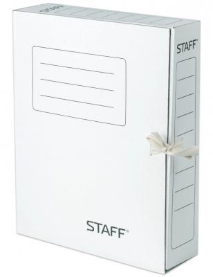 Фото - Папка архивная с завязками, микрогофрокартон, 75 мм, до 700 листов, белая, STAFF, 128869 папка архивная с завязками микрогофрокартон 75 мм до 700 листов плотная синяя brauberg 124853