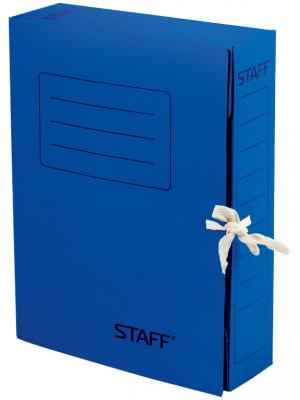Фото - Папка архивная с завязками, микрогофрокартон, 75 мм, до 700 листов, синяя, STAFF, 128870 папка архивная с завязками микрогофрокартон 75 мм до 700 листов плотная синяя brauberg 124853