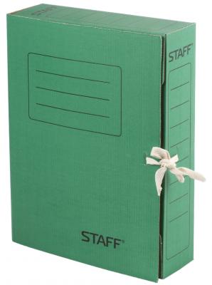 Фото - Папка архивная с завязками, микрогофрокартон, 75 мм, до 700 листов, зеленая, STAFF, 128871 папка архивная с завязками микрогофрокартон 75 мм до 700 листов плотная синяя brauberg 124853