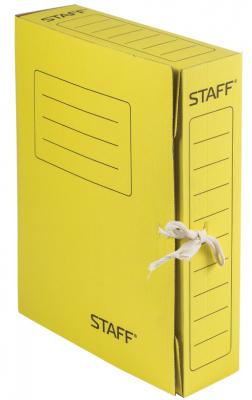 Фото - Папка архивная с завязками, микрогофрокартон, 75 мм, до 700 листов, желтая, STAFF, 128873 папка архивная с завязками микрогофрокартон 75 мм до 700 листов плотная синяя brauberg 124853