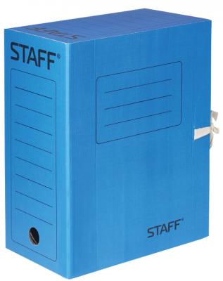 Фото - Папка архивная с завязками, микрогофрокартон, 150 мм, до 1400 листов, синяя, STAFF, 128876 папка архивная с завязками микрогофрокартон 75 мм до 700 листов плотная синяя brauberg 124853