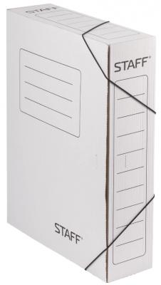 Фото - Папка архивная с резинкой, микрогофрокартон, 75 мм, до 700 листов, белая, STAFF, 128878 папка архивная с завязками микрогофрокартон 75 мм до 700 листов плотная синяя brauberg 124853