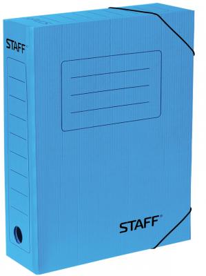 Фото - Папка архивная с резинкой, микрогофрокартон, 75 мм, до 700 листов, синяя, STAFF, 128879 папка архивная с завязками микрогофрокартон 75 мм до 700 листов плотная синяя brauberg 124853