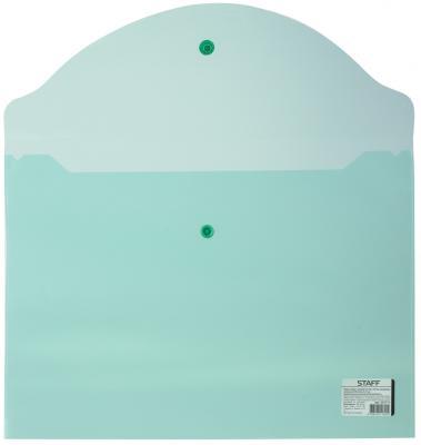 Папка-конверт с кнопкой STAFF, А4, 340х240 мм, 120 мкм, до 100 листов, прозрачная, зеленая, 225171 папка конверт с кнопкой staff а4 120 мкм до 100 листов прозрачная желтая 226031