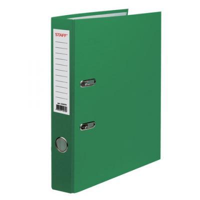 Папка-регистратор STAFF, с покрытием из ПВХ, 50 мм, без уголка, зеленая, 225979