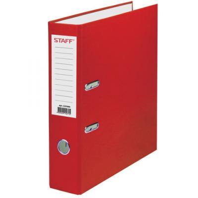 Папка-регистратор STAFF, с покрытием из ПВХ, 70 мм, без уголка, красная, 225980