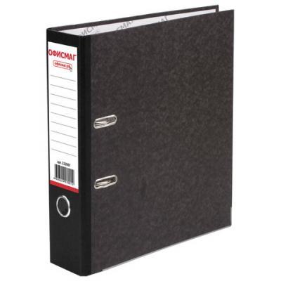Папка-регистратор ОФИСМАГ, фактура стандарт, с мраморным покрытием, 80 мм, черный корешок, 222097 папка регистратор офисмаг фактура стандарт с мраморным покрытием 80 мм синий корешок 225583