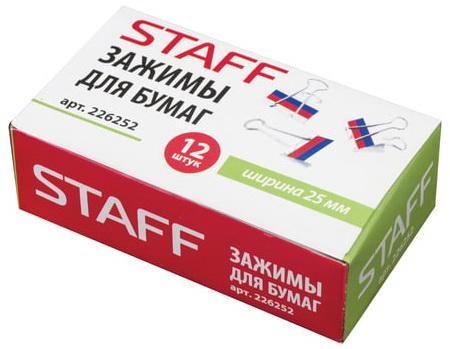 Зажимы для бумаг STAFF, комплект 12 шт., 25 мм, на 100 л., Триколор, в картонной коробке, 226252