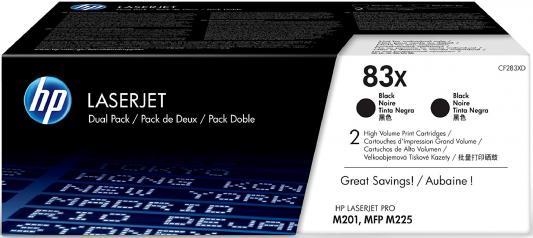 Тонер Картридж HP 83X CF283XD черный x2уп. (4400стр.) для HP LJ Pro M201/M225 картридж hp 23 c1823d