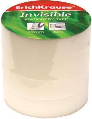 купить Клейкая лента Erich Krause Invisible 40196 12мм x 20 м комплект 4 шт., прозрачные, матовые недорого