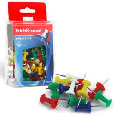 Силовые кнопки-гвоздики ERICH KRAUSE, цветные, 100 шт., в пластиковой коробке, 19749 кнопки силовые index ispp3020 40 шт 20 мм разноцветный