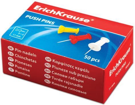 Силовые кнопки-гвоздики ERICH KRAUSE, цветные, 50 шт., в картонной коробке, 24877 кнопки силовые index ispp3020 40 шт 20 мм разноцветный