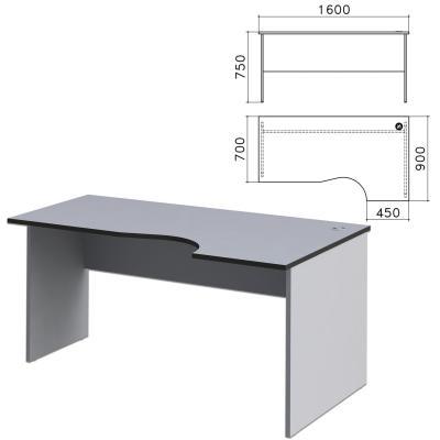 """Стол письменный эргономичный """"Монолит"""", 1600х900х750 мм, правый, цвет серый, СМ6.11"""
