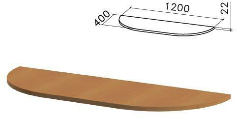 """Стол приставной полукруг """"Монолит"""", 1200х400х750 мм, БЕЗ ОПОР (640137), цвет орех гварнери, ПМ39.3"""