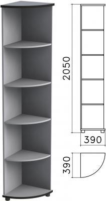 "Шкаф (стеллаж) угловой ""Монолит"", 390х390х2050 мм, 4 полки, цвет серый, УМ46.11"