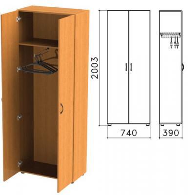 Шкаф для одежды Фея, 740х390х2000 мм, цвет орех милан, ШФ17.5 цена