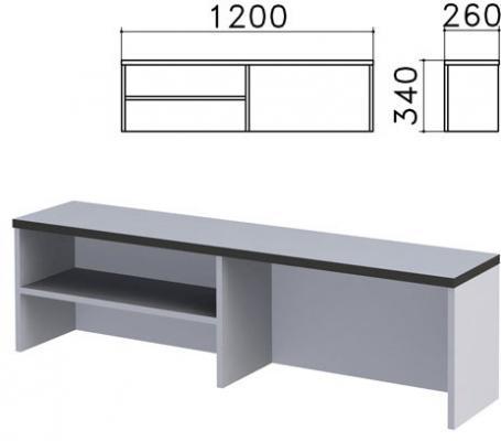 "Надстройка для стола письменного ""Монолит"", 1200х260х340 мм, 1 полка, цвет серый, НМ37.11"