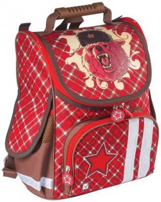 Ранец светоотражающие материалы BRAUBERG Медведь 17 л красный школьные рюкзаки brauberg ранец динозавр 17 л