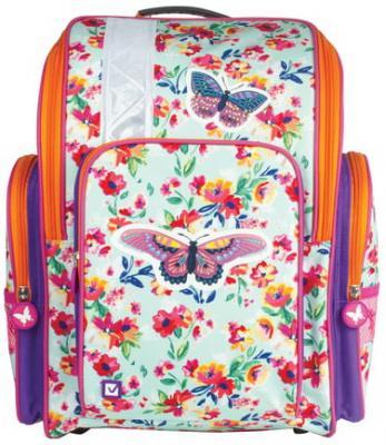 Купить Ранец жесткокаркасный BRAUBERG для учениц начальной школы, Бабочка в цветах , 36х26х14 см, 226918, фиолетовый, ткань, EVA, Школьные ранцы