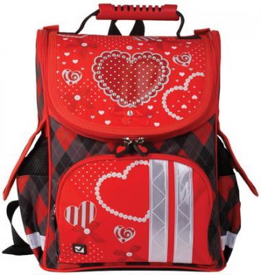 Купить Ранец жесткокаркасный BRAUBERG для учениц начальной школы, Сердце , 17 литров, 34х26х16 см, 226271, черный, прорезиненная ткань, EVA, Школьные ранцы