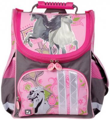 Ранец жесткокаркасный BRAUBERG для учениц начальной школы, Лошади, 17 литров, 34х26х16 см, 226274 рюкзак brauberg лошади 226272