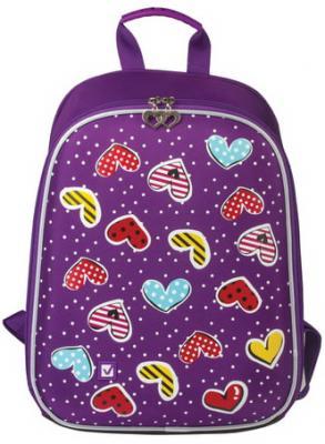 Ранец светоотражающие материалы BRAUBERG Сердечки 10 л фиолетовый школьные рюкзаки brauberg ранец динозавр 17 л