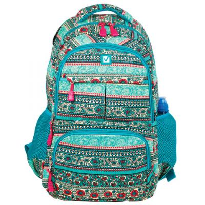 Купить Рюкзак ручка для переноски BRAUBERG Индия 27 л бирюзовый, канвас, Ранцы, рюкзаки и сумки