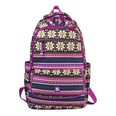 Купить Рюкзак ручка для переноски BRAUBERG Фиолетовые узоры 27 л фиолетовый, канвас, Детские рюкзачки