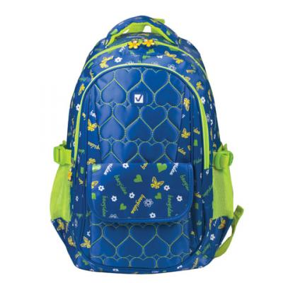 Купить Рюкзак ручка для переноски BRAUBERG Сердечки 26 л синий, нейлон, Детские рюкзачки