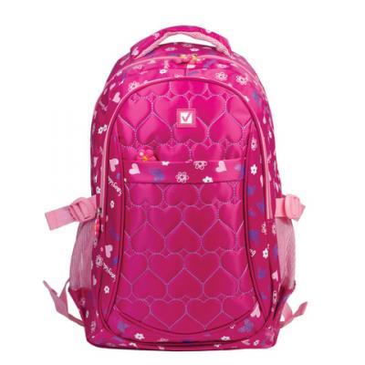 Купить Рюкзак ручка для переноски BRAUBERG Сердечки 26 л розовый, нейлон, Детские рюкзачки