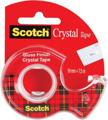 Клейкая лента 3M Scotch Crystal 19мм x 7.5 м прозрачная, на диспенсере, 50 мкм, 61975D-RUS клейкая лента 3m scotch 440093 48мм x 50 м прозрачная
