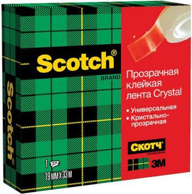 Клейкая лента 3M Scotch Crystal 600RUS 19мм x 33 м канцелярская
