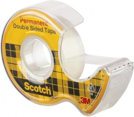 Клейкая лента 3M Scotch 12мм x 6.3 м двусторонняя на диспенсере, 89 мкм, 136D