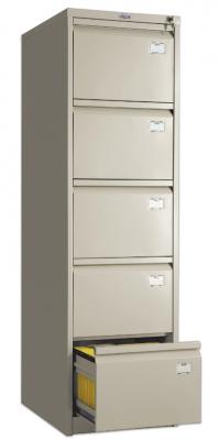 """Шкаф картотечный ПРАКТИК """"AFC-05"""", 1634х467х630 мм, 5 ящиков для 275 подвесных папок, формат папок Foolscap или A4 (БЕЗ ПАПОК)"""