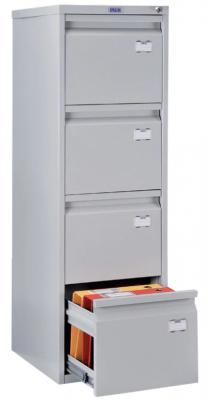 """Шкаф картотечный ПРАКТИК """"A-44"""" 1305х408х485 мм, 4 ящика для 168 подвесных папок, формат папок A4 (БЕЗ ПАПОК)"""